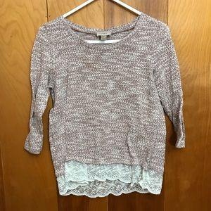 Loft | Heathered Cream Sweater with Lace Hem sz L